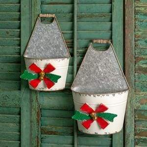 Set of Two Holiday Bow Caddies - Countryside Home Decor