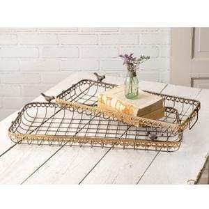 Set of Two Nesting Wire Baskets with Birds - Countryside Home Decor