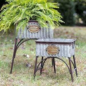 Set of Two Poland Tubs with Stands - Countryside Home Decor