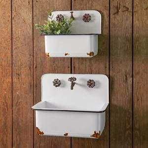 Set of Two Sink Wall Planters - Countryside Home Decor