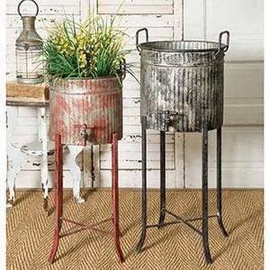 Set of Two Spigot Tubs with Stands - Countryside Home Decor