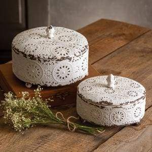 Set of Two Vintage Trinket Boxes - Countryside Home Decor