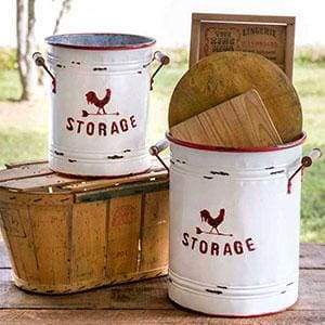 Set of Two White and Red Storage Tins with Handles - Countryside Home Decor