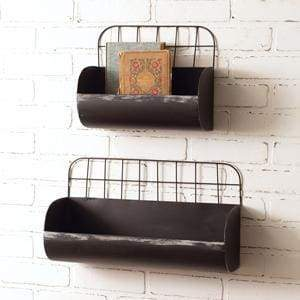 Set of Two Wire Back Wall Bins - Black - Countryside Home Decor