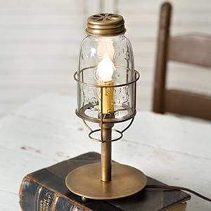 Short Mason Jar Desk Lamp - Antique Brass - Countryside Home Decor