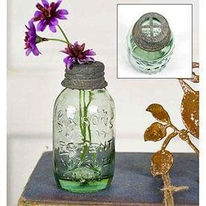Small Mason Jar With Flower Frog - Box of 6 - Countryside Home Decor