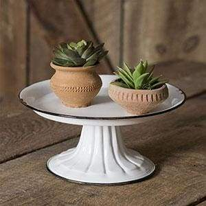 Small Round Pedestal Stand with Black Trim - Countryside Home Decor