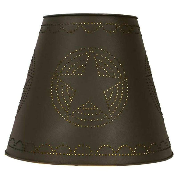 Star Tin Washer Top Lamp Shade - Rustic Brown - Countryside Home Decor