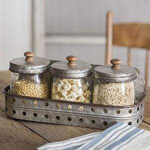 Three Glass Canisters with Storage Bin - Countryside Home Decor