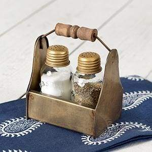 Tiny Toolbox Salt and Pepper Caddy - Antique Brass - Box of 2 - Countryside Home Decor