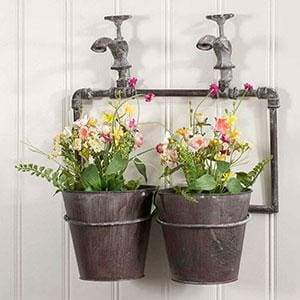 Two-Pot Wall Planter with Spigot - Countryside Home Decor