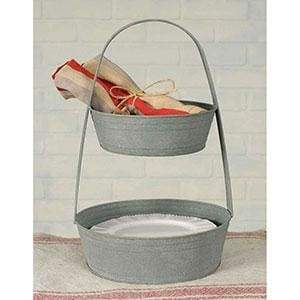 Two-Tier Metal Tote - Barn Roof - Countryside Home Decor