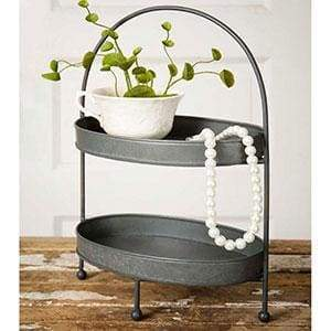 Two Tier Metal Tray - Countryside Home Decor