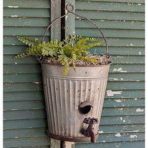 Water Bucket Birdhouse Planter - Countryside Home Decor