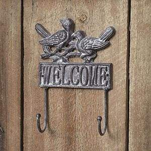 Welcome Bird Wall Hook - Box of 2 - Countryside Home Decor