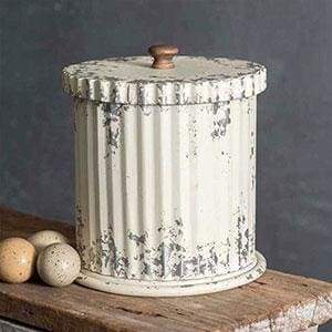 Whitewash Canister with Lid - Countryside Home Decor
