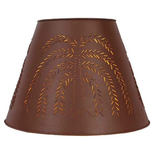 Willow Tin Washer Top Lamp Shade - Red - Countryside Home Decor