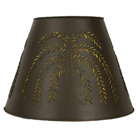 Willow Tin Washer Top Lamp Shade - Rustic Brown - Countryside Home Decor