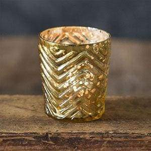 Zigzag Mercury Glass Votive Holder - Box of 4 - Countryside Home Decor
