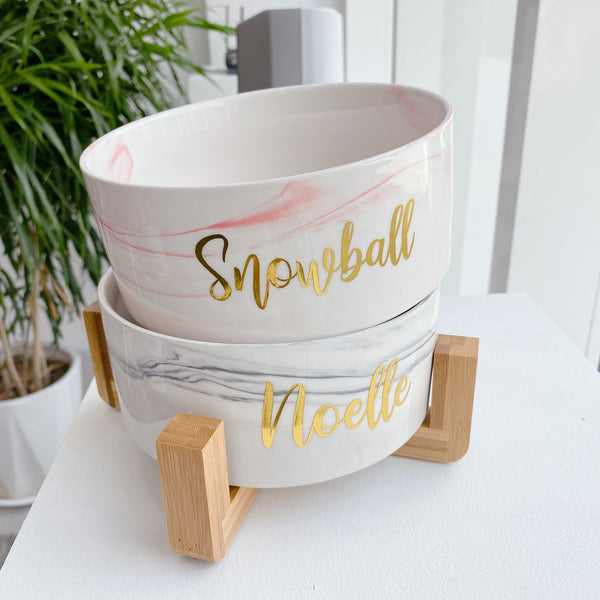 Marble grey bowl with stand (Personalised name)