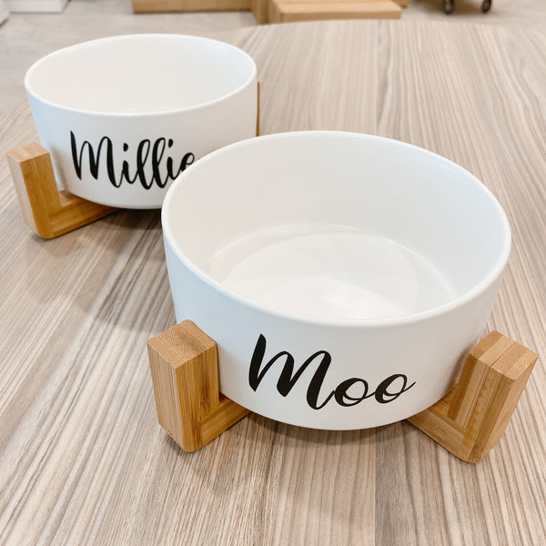 White bowl with stand (Personalised name)