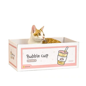 cat bubble cup box with scratcher board