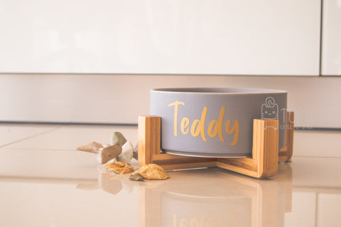 Grey <matte> bowl with stand (Personalised name)