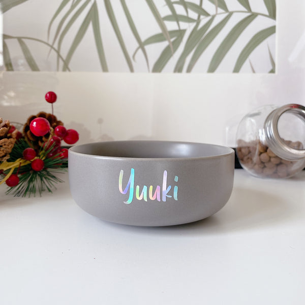 Grey small ceramic bowl (Personalised name)