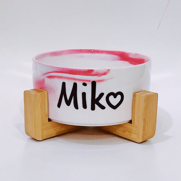 Marble Pink bowl with stand (Personalised name)