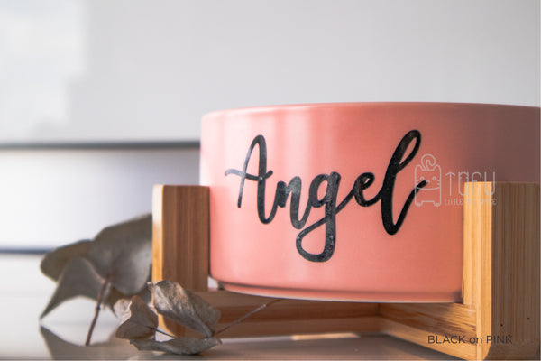 Pink bowl with stand (Personalised name)