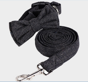 Cotton fashion Bow collar & Leash set (M-L)