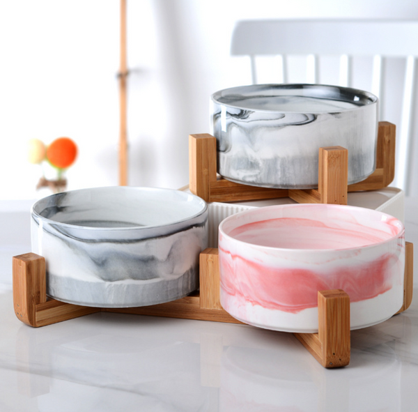 wooden stand for double personalised ceramic bowl