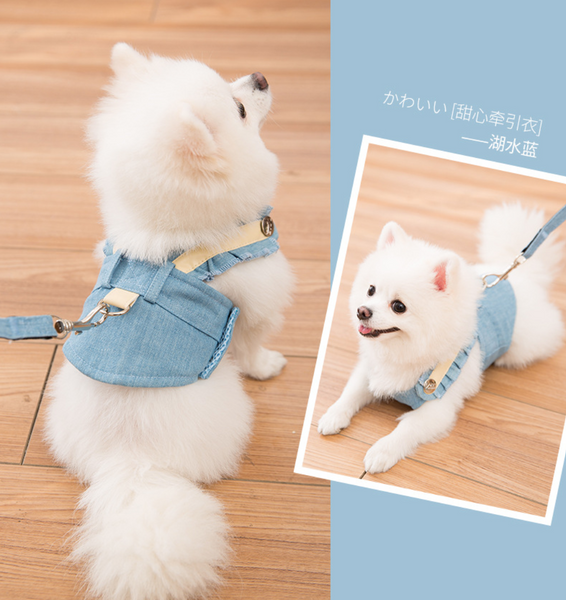 Denim clothing harness with breathable material & leash