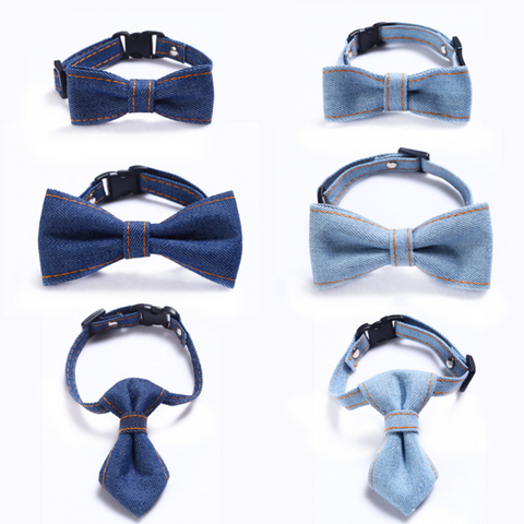 Denim Bow & Tie Cat Safety Collar (XS-S)