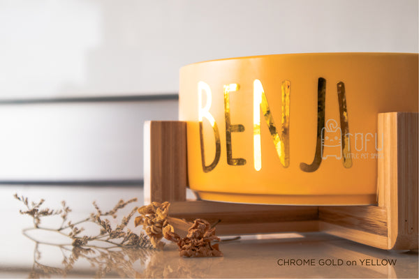Yellow bowl with stand (Personalised name)