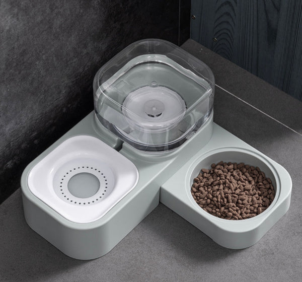 Cube 2in1 auto feeder with free stainless steel bowl (grey)