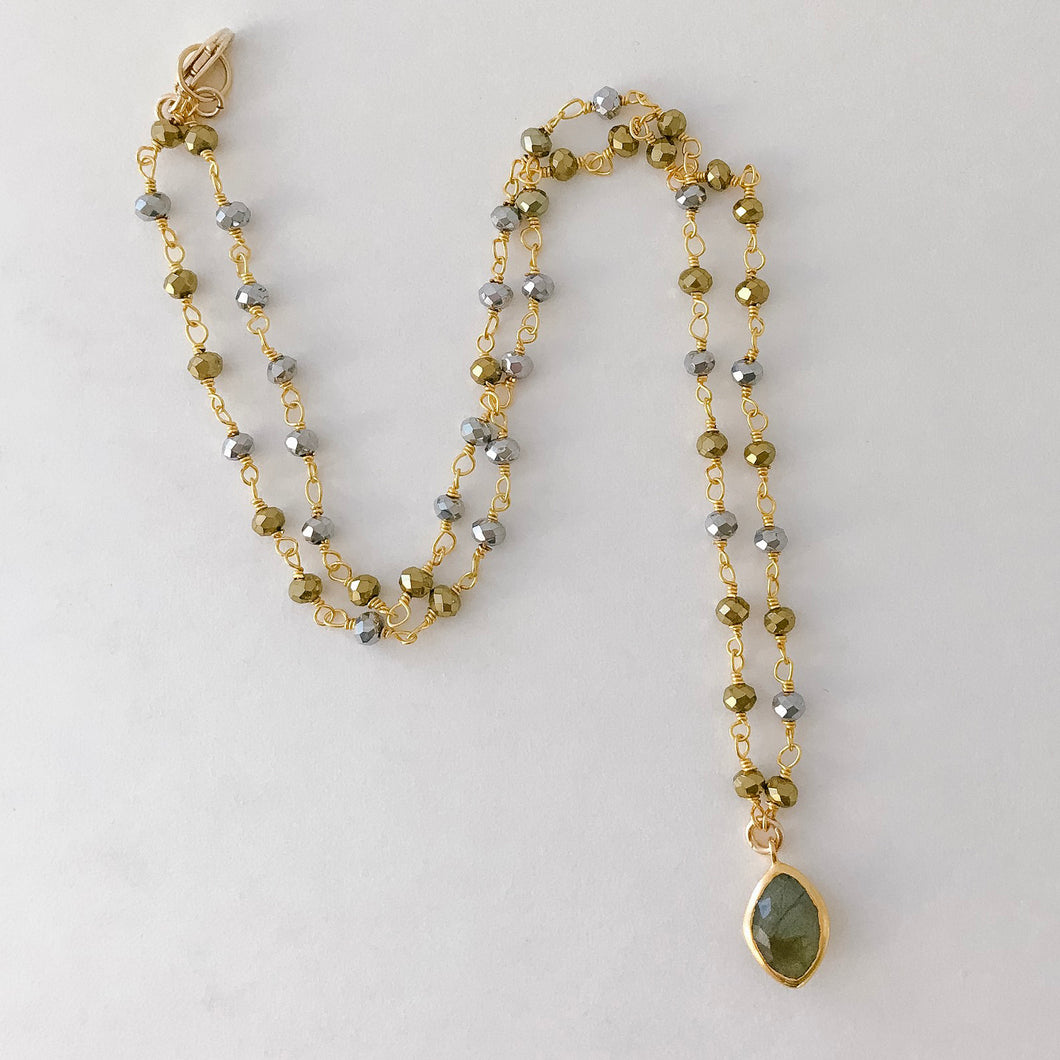 Labradorite and Pyrite Necklace
