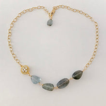 Load image into Gallery viewer, Moss Aquamarine Chunky Gold Necklace