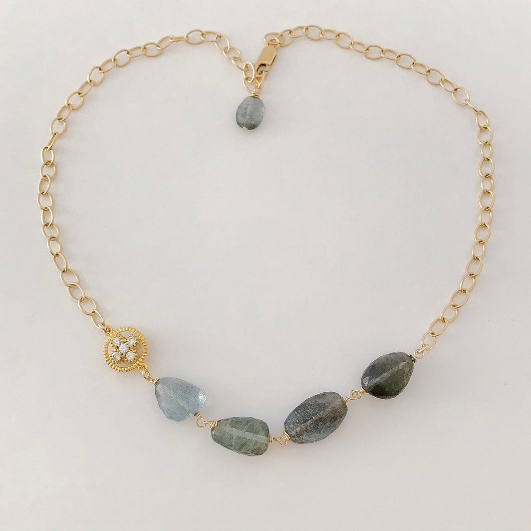 Moss Aquamarine Chunky Gold Necklace