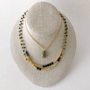 Black Onyx and Pyrite Necklace