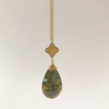 Load image into Gallery viewer, Large Labradorite with Gold Necklace