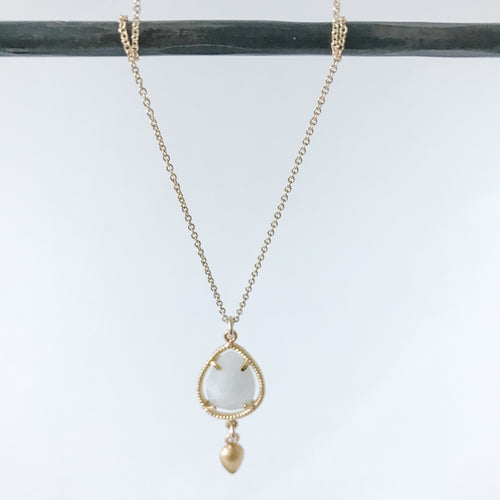 Moonstone Teardrop and Gold Necklace