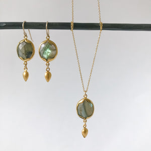 Square Labradorite and Gold Necklace