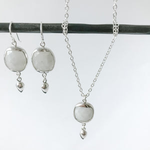 Square Moonstone and Sterling Necklace