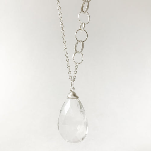 Large Rock Crystal and Sterling Necklace