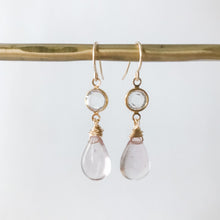 Load image into Gallery viewer, Gold Dainty Pink Quartz Earring