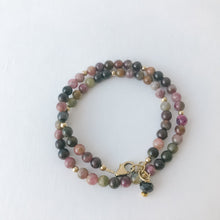 Load image into Gallery viewer, Tourmaline Double Wrap Gold Bracelet