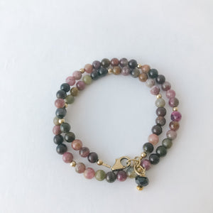 Tourmaline Double Wrap Gold Bracelet
