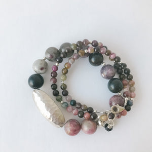 Tourmaline Double Wrap and Sterling Bracelet