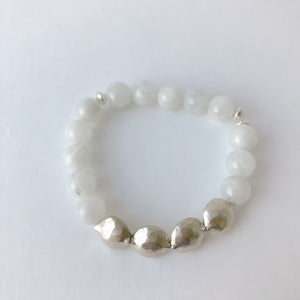 Round Moonstone and Sterling Bracelet